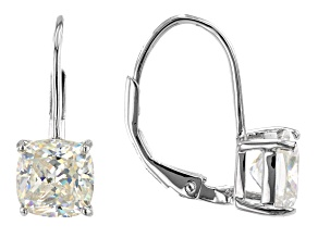Fabulite Strontium Titanate rhodium over sterling silver earrings 4.40ctw