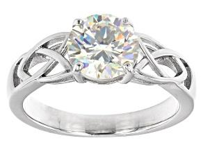 Fabulite strontium titanate rhodium over sterling silver solitaire ring 2.50ct