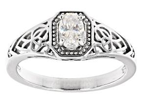 Fabulite strontium titanate rhodium over sterling silver solitaire ring .50ct
