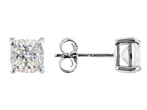 Fabulite Strontium Titanate rhodium over sterling silver stud earrings 2.70ctw