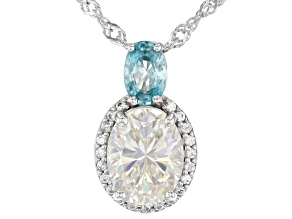 Fabulite Strontium Titanate with blue and white zircon rhodium over sterling silver pendant 2.97ctw