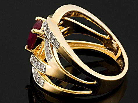 Red Ruby And White Zircon 18k Yellow Gold Over Sterling Silver Ring 2.05ctw