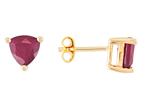 2.89ctw Mahaleo® Ruby 18k Yellow Gold Over Sterling Silver Stud Earrings