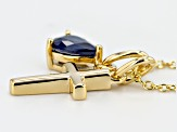 Blue Sapphire 18k Yellow Gold Over Sterling Silver Pendant With Chain .75ct