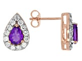 Amethyst And White Zircon 18k Rose Gold Over Sterling Silver Earrings 2.40ctw