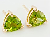 2.24ctw Manchurian Peridot™ 18k Yellow Gold Over Sterling Silver Stud Earrings