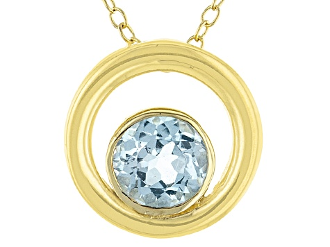 Blue Topaz 18k Yellow Gold Over Sterling Silver Pendant With Chain .84ct