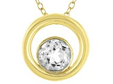 White Topaz 18k Yellow Gold Over Sterling Silver Pendant With Chain .77ct