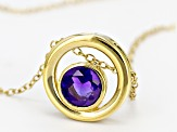 Purple Amethyst 18k Yellow Gold Over Sterling Silver Pendant With Chain .64ct