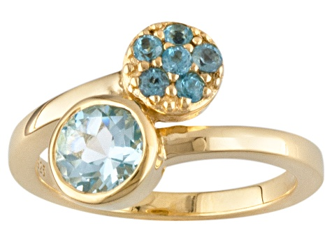 Mixed Blue Topaz 18k Yellow Gold Over Silver Bypass Ring 1.14ctw