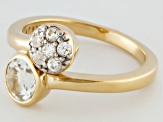 White Topaz 18k Yellow Gold Over Sterling Silver Bypass Ring 1.02ctw