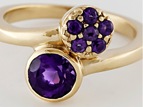 Purple African Amethyst 18k Yellow Gold Over Sterling Silver Bypass Ring .87ctw