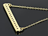 White Topaz 18k Yellow Gold Over Sterling Silver Bar Necklace .69ctw