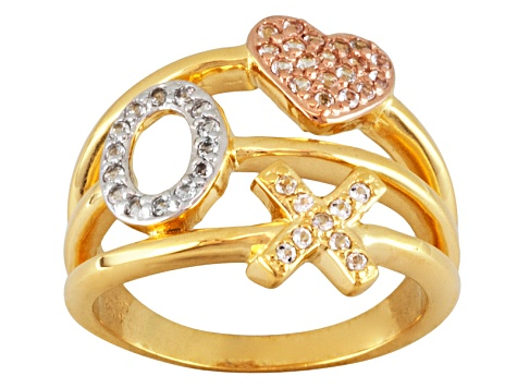 White Topaz 18k Yellow And Rose Gold Over Silver X,O, Heart Ring .25ctw