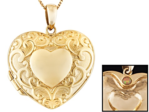 Opal 18k Yellow Gold Over Sterling Silver Locket Pendant With Chain .04ct