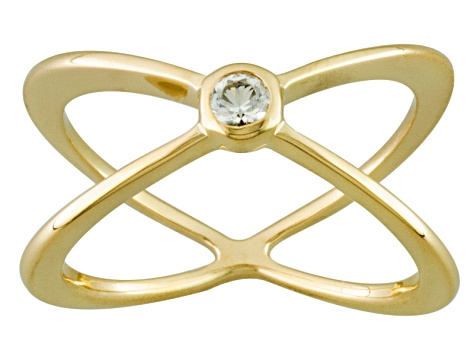 White Topaz 18k Yellow Gold Over Sterling Silver Ring .10ct