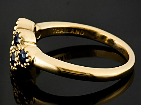 Blue Sapphire 18k Yellow Gold Over Sterling Silver Ring .55ctw
