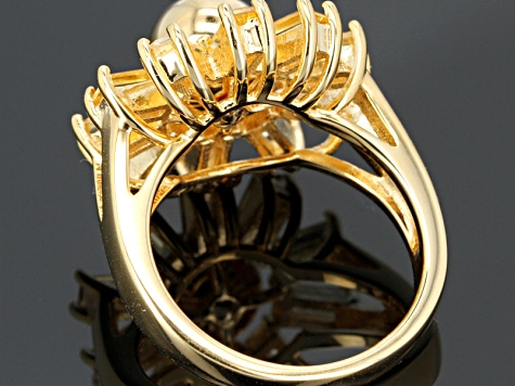 Yellow Citrine 18k Yellow Gold Silver Ring 1.43ctw