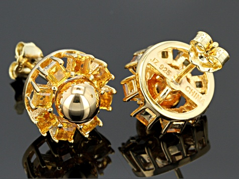 1.20ctw Square Citrine 18k Yellow Gold Over Sterling Silver Stud Earrings