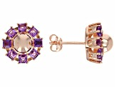 Purple African Amethyst 18k Rose Gold Over Sterling Silver Earrings 1.15ctw