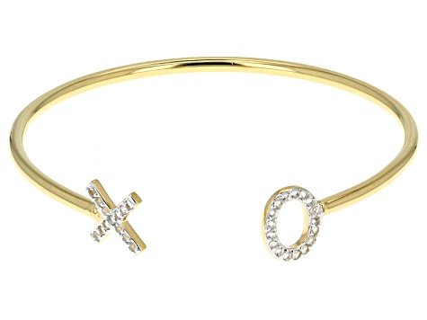 White Topaz 18k Yellow Gold Over Sterling Silver