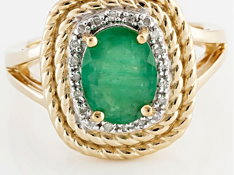Green Emerald 18k Yellow Gold Over Sterling Silver Ring 1.45ctw