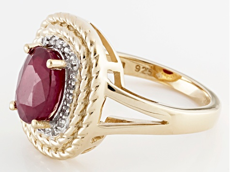 Red Ruby And White Diamond 18k Yellow Gold Over Sterling Silver Ring 2.34ctw
