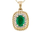 1.38ct Emerald & .07ctw Diamond Accent 18k Yellow Gold Over Silver Pendant With Chain