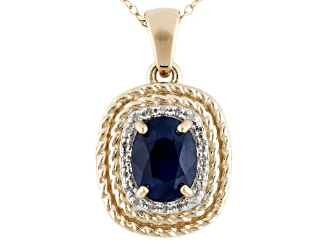 Blue Sapphire And Diamond 18k Gold Over Silver Pendant With Chain 2.16ctw
