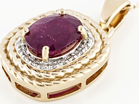 Red Ruby And Diamond 18k Yellow Gold Over Sterling Silver Pendant With Chain 2.34ctw
