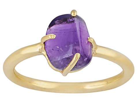 Purple Amethyst Rough 18k Gold Over Silver Ring