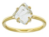 Blue Aquamarine Rough 18k Gold Over Silver Ring 1.83ct