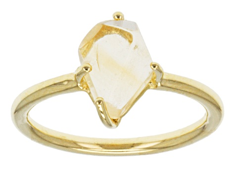 Yellow Citrine Rough 18k Gold Over Silver Ring