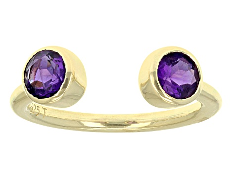 Purple Amethyst 18k Gold Over Silver 2-Stone Ring .82ctw