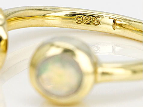 Ethiopian Opal 18k Gold Over Sterling Silver 2-Stone Ring .59ctw