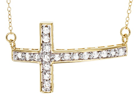 White Topaz 18k Yellow Gold Over Sterling Silver Cross Necklace .64ctw