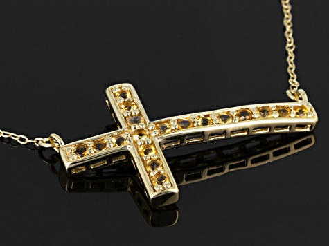 Yellow Citrine 18k Yellow Gold Over Sterling Silver Cross Necklace .54ctw
