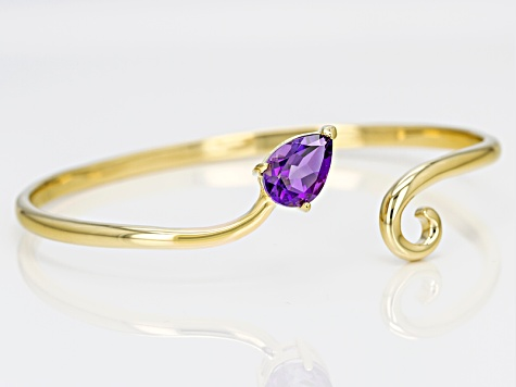 Purple Amethyst 18k Gold Over Silver Open Bypass Bangle 1.59ct