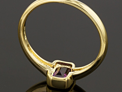 Purple Amethyst 18k Yellow Gold Over Silver Solitaire Ring .50ct