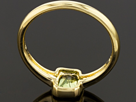 Green Peridot 18k Yellow Gold Over Silver Solitaire Ring .44ct