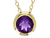 Purple Amethyst 18k Yellow Gold Over Silver Pendant With Chain .69ctw