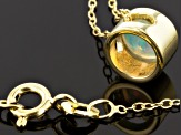 Ethiopian Opal 18k Yellow Gold Over Silver Pendant With Chain .39ctw