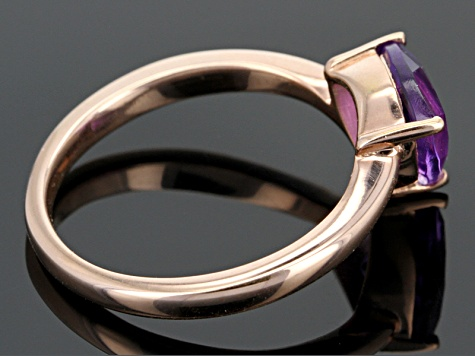 Purple Amethyst 18k Rose Gold Over Sterling Silver Ring 1.24ct