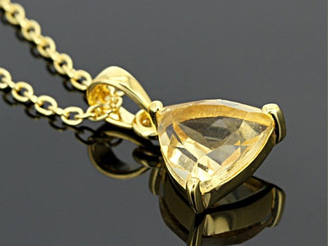 Yellow Citrine 18k Yellow Gold Over Silver Pendant With Chain 1.18ct