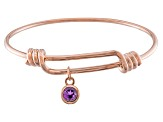 Purple Amethyst 18k Rose Gold Over Silver Bangle .66ct