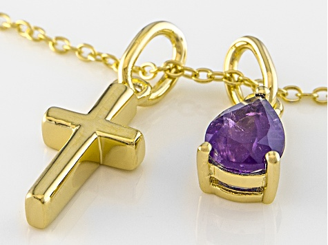 Purple Amethyst 18k Gold Over Silver Cross Pendant With Chain .52ctw