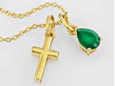 Green Onyx 18k Yellow Gold Over Sterling Silver Pendant With Chain