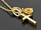 Yellow Citrine 18k Gold Over Silver Pendant With Chain .56ctw