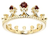 Red Garnet 18k Gold Over Silver Crown Ring .18ctw