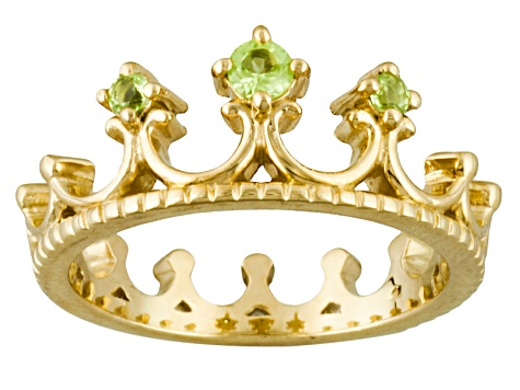 Green Peridot 18k Yellow Gold Over Silver Ring .17ctw
